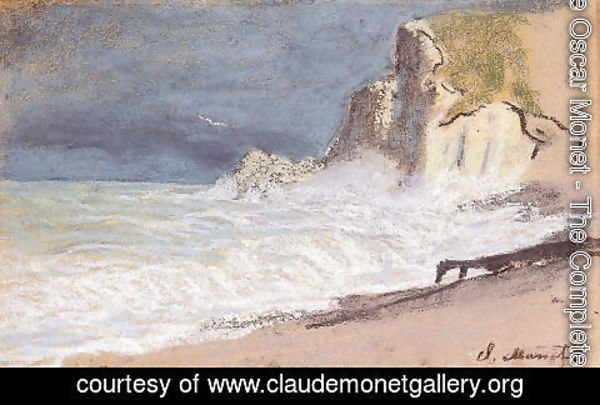 Claude Oscar Monet - Etretat   Amont Cliff  Rough Weather