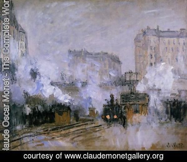 Claude Oscar Monet - Exterior Of The Saint Lazare Station  Arrival Of A Train