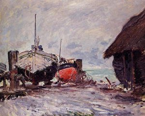 Claude Oscar Monet - Fishing Boats At Etretat