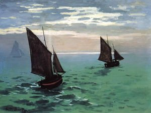 Claude Oscar Monet - Fishing Boats At Sea