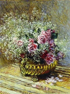 Claude Oscar Monet - Flowers In A Pot Aka Roses And Babys Breath