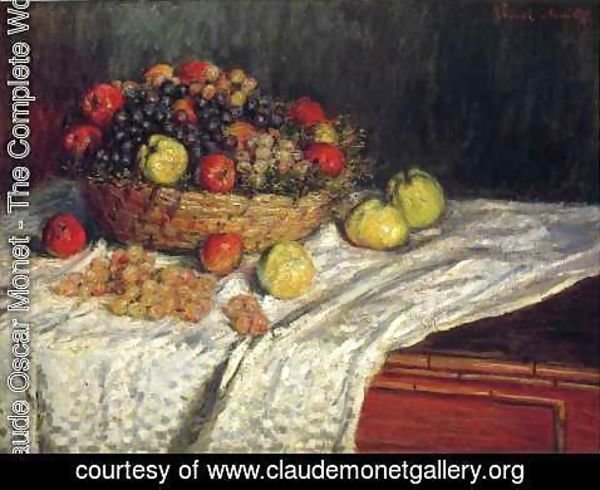 Claude Oscar Monet - Fruit Basket With Apples And Grapes