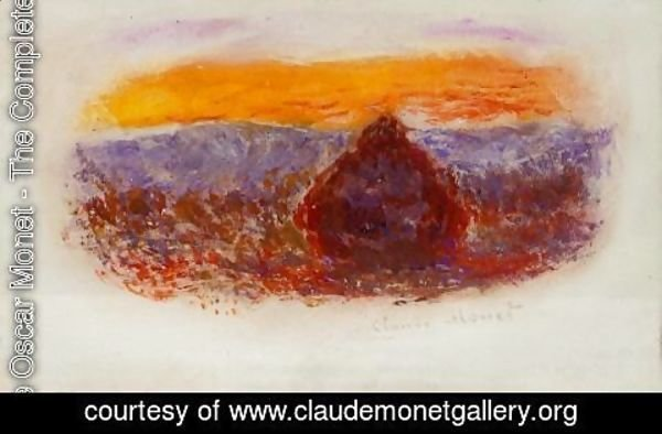 Claude Oscar Monet - Grainstack At Sunset2