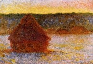 Claude Oscar Monet - Grainstack At Sunset  Winter