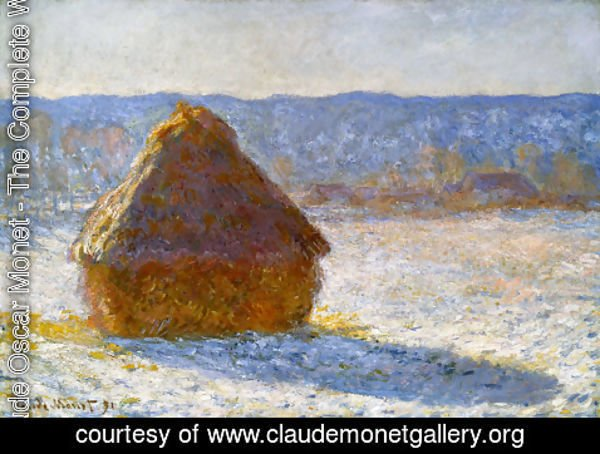 Claude Oscar Monet - Grainstack In The Morning  Snow Effect