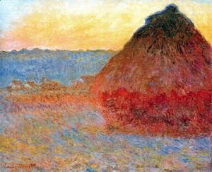Claude Oscar Monet - Grainstack  Impression In Pinks And Blues