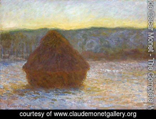 Claude Oscar Monet - Grainstack  Thaw  Sunset