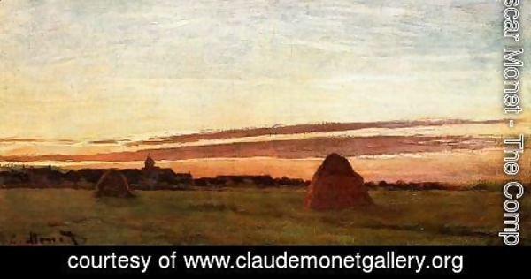 Claude Oscar Monet - Grainstacks At Chailly At Sunrise