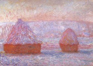 Claude Oscar Monet - Grainstacks At Giverny  Morning Effect