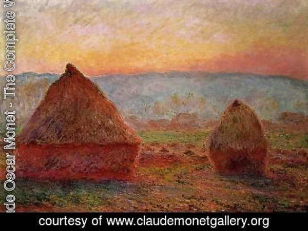 Claude Oscar Monet - Grainstacks At Giverny  Sunset