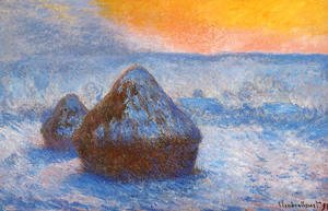 Claude Oscar Monet - Grainstacks At Sunset  Snow Effect