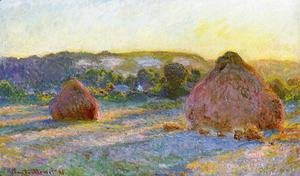 Claude Oscar Monet - Grainstacks At The End Of Summer  Evening Effect