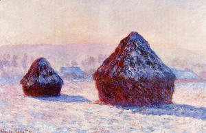 Claude Oscar Monet - Grainstacks In The Morning  Snow Effect