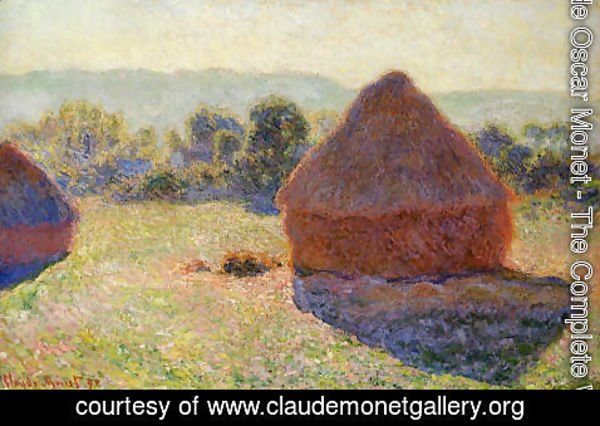 Claude Oscar Monet - Grainstacks In The Sunlight  Midday