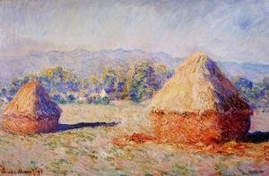 Claude Oscar Monet - Grainstacks In The Sunlight  Morning Effec