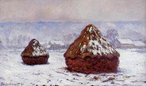 Claude Oscar Monet - Grainstacks  Snow Effect