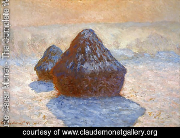 Claude Oscar Monet - Grainstacks  White Frost Effect