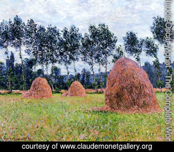 Claude Oscar Monet - Haystacks  Overcast Day