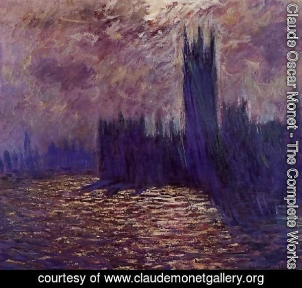 Claude Oscar Monet - Houses Of Parliament  Reflection Of The Thames