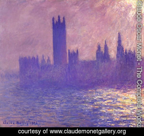 Claude Oscar Monet - Houses Of Parlilament  Sunlight Effect