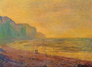 Claude Oscar Monet - Low Tide At Pourville  Misty Weather