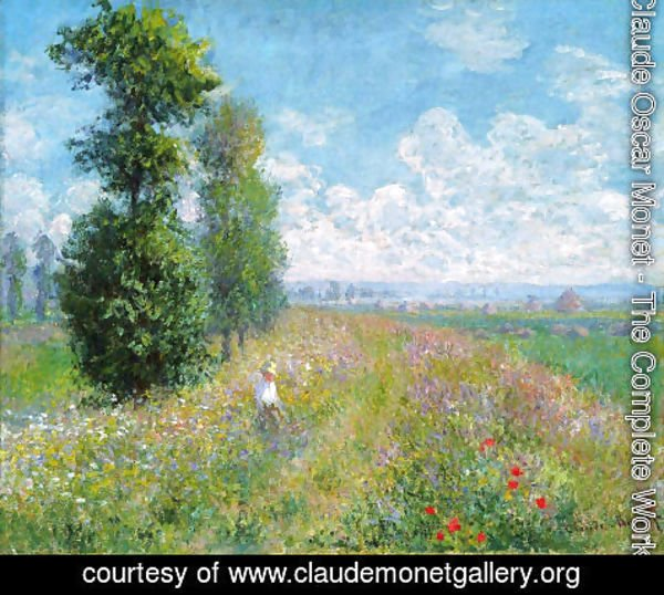 Claude Oscar Monet - Meadow With Poplars Aka Poplars Near Argenteuil