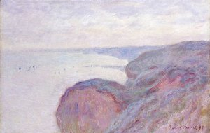 Claude Oscar Monet - On The Cliff Near Dieppe  Overcast Skies