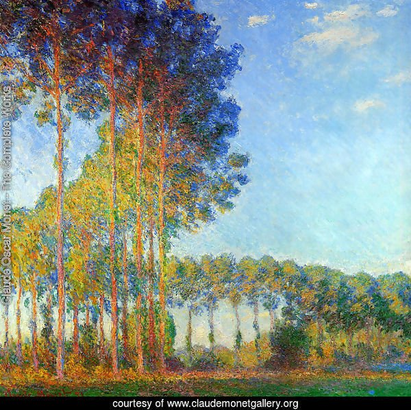 Poplars On The Banks Of The River Epte In Autumn