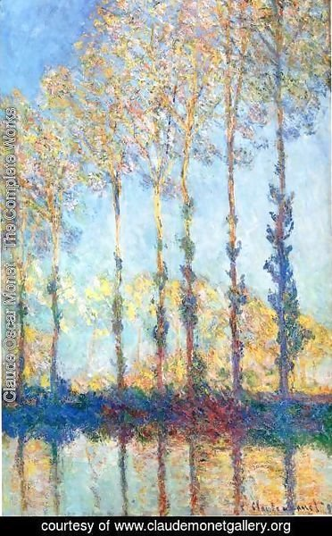 Claude Oscar Monet - Poplars  White And Yellow Effect