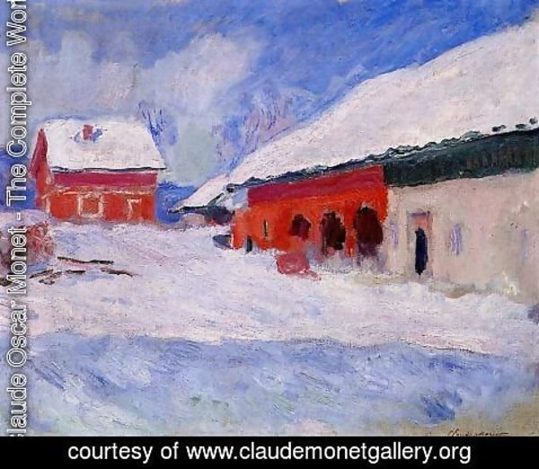 Claude Oscar Monet - Red Houses At Bjornegaard In The Snow  Norway