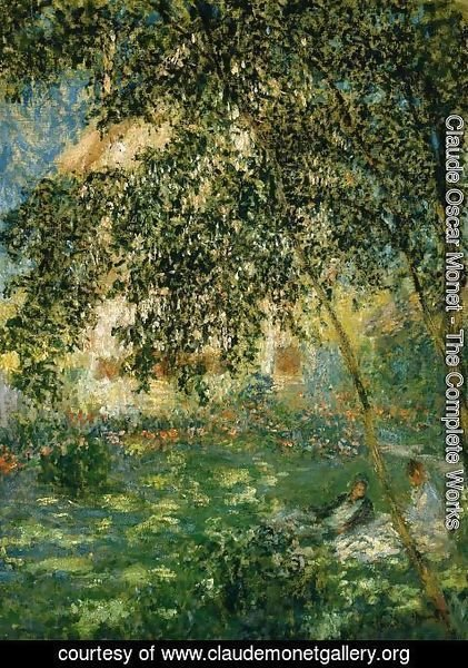 Claude Oscar Monet - Relaxing In The Garden  Argenteuil