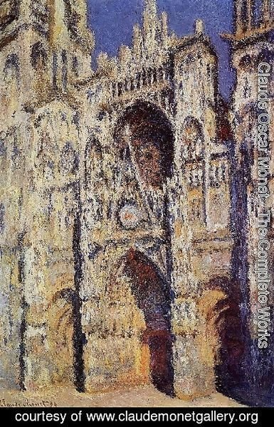 Claude Oscar Monet - Rouen Cathedral  The Portal And The Tour D Albane  Full Sunlight