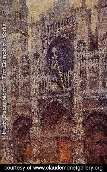 Claude Oscar Monet - Rouen Cathedral  The Portal  Grey Weather