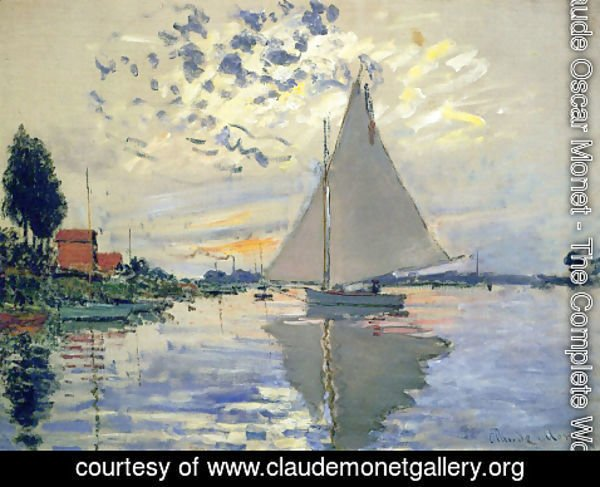 Claude Oscar Monet - Sailboat At Le Petit Gennevilliers