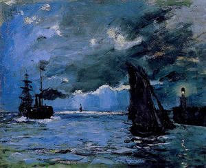 Claude Oscar Monet - Seascape  Night Effect