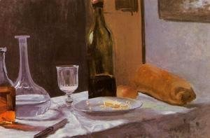 Claude Oscar Monet - Still Life With Bottle  Carafe  Bread And Wine