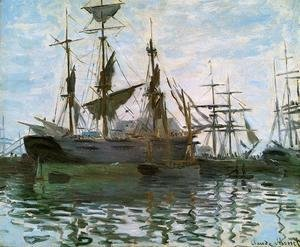 Claude Oscar Monet - Study Of Boats Aka Ships In Harbor