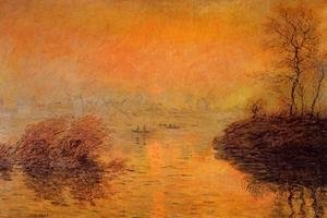Claude Oscar Monet - Sunset On The Seine At Lavacourt  Winter Effect