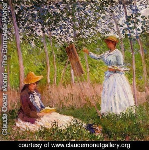 Claude Oscar Monet - Suzanne Reading And Blanche Painting By The Marsh At Giverny