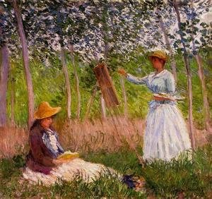 Suzanne Reading And Blanche Painting By The Marsh At Giverny