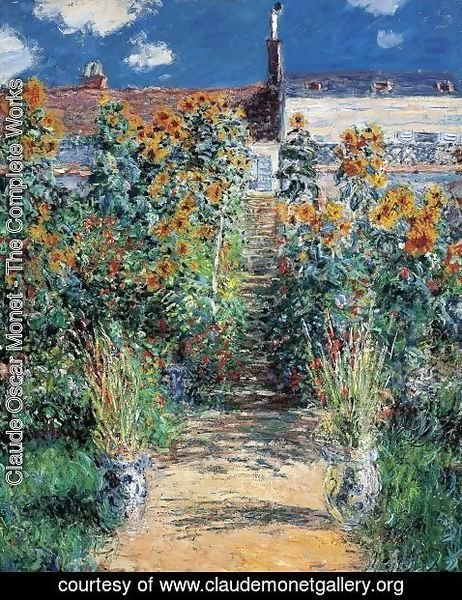 Claude Oscar Monet - The Artists Garden At Vetheuil