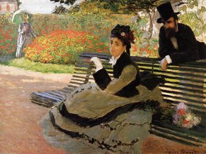 Claude Oscar Monet - The Beach Aka Camille Monet On A Garden Bench