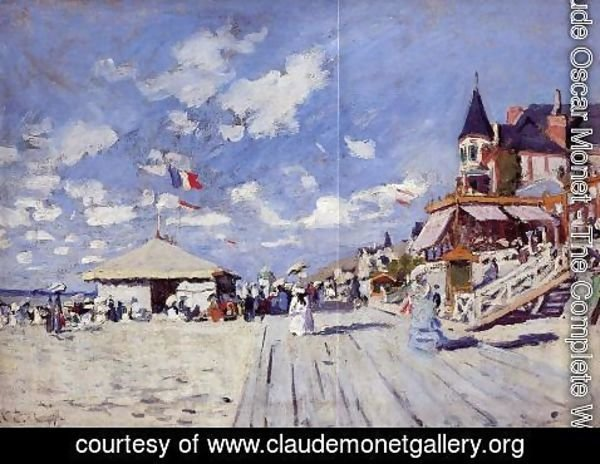 Claude Oscar Monet - The Boardwalk On The Beach At Trouville