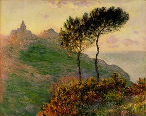Claude Oscar Monet - The Church At Varengeville  Against The Sunset