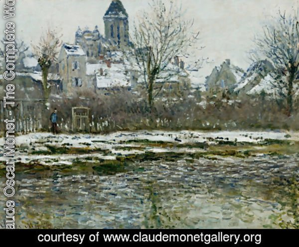 Claude Oscar Monet - The Church At Vetheuil  Snow