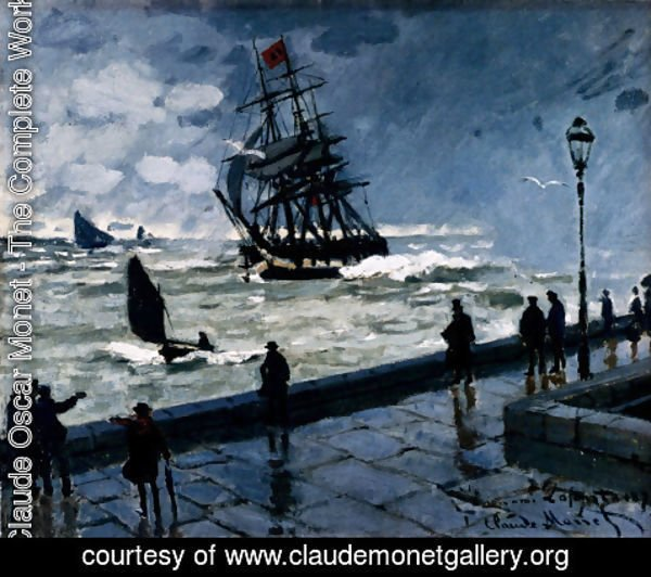 Claude Oscar Monet - The Jetty Of Le Havre In Rough Westher