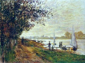 The Riverbank At Le Petit Gennevilliers  Sunset