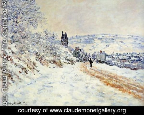 Claude Oscar Monet - The Road To Vetheuil  Snow Effect