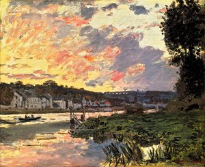 Claude Oscar Monet - The Seine At Bougeval  Evening Aka Bougival