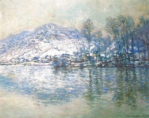 Claude Oscar Monet - The Seine At Port Villez  Snow Effect